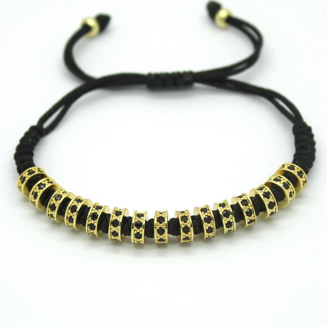 Anil Arjandas Men Macrame Bracelets 24K Gold Plated Micro Pave Black CZ Stoppers Beads Briading Macrame