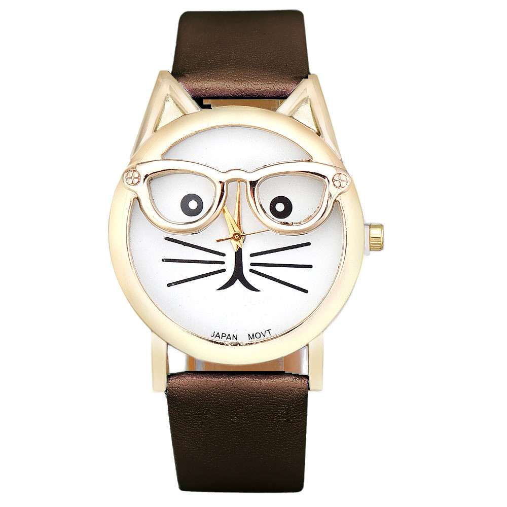 BIG Discount Relogio Feminino Montre femme Cute Glasses Cat Analog Quartz Dial Wrist Ladies Watches Women Gift Fashion Brand
