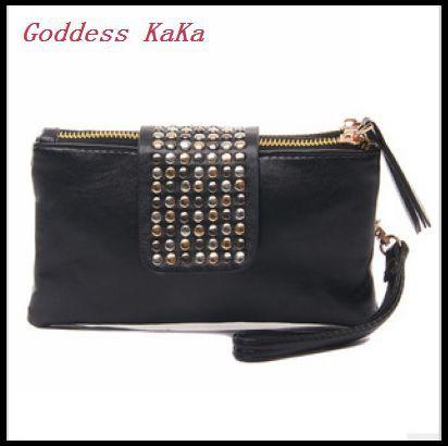 2014 women Day clutch purses wallet new style fashion Rivet handbag women high quality leather bags K009(China (Mainland))