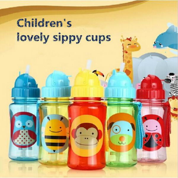 Skip Zoo Baby Feeding Cup Cartoon Animal Straw Cup Baby Water Bottle Drinking Cups Bolsa Termica Non-toxic BPA-Free Bottles(China (Mainland))