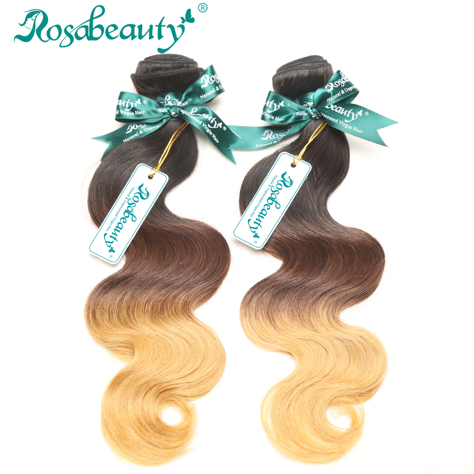 2 Bundles Rosa Hair Products Brazilian Ombre Human Hair Weaves Body Wavy Grade 6A Ombre Hair Extensions Shipping Free(China (Mainland))