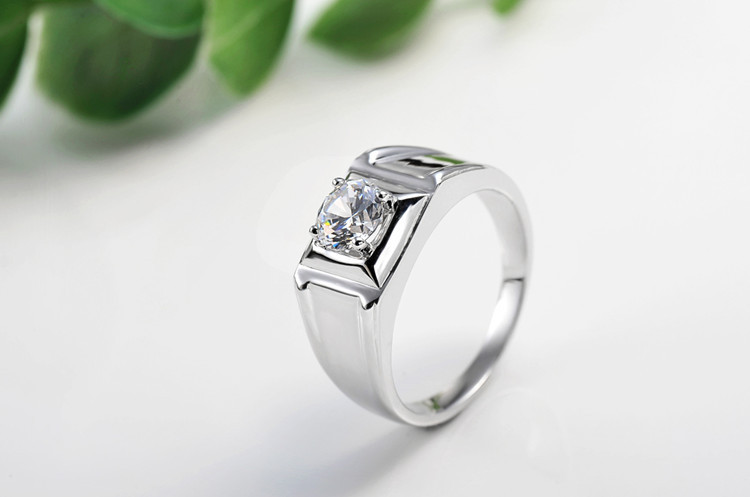 Wholesale Romantic 1CT Synthetic Diamond Rings For Men 925 Sterling Silver Jewelry 18K White Gold Plated Wedding Men Rings(China (Mainland))