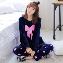 Winter New Thickened Cute Sleeping Owl Coral Fleece Cartoon Pajamas set Home Furnishing Suit Coral Velvet Home Leisure Wear