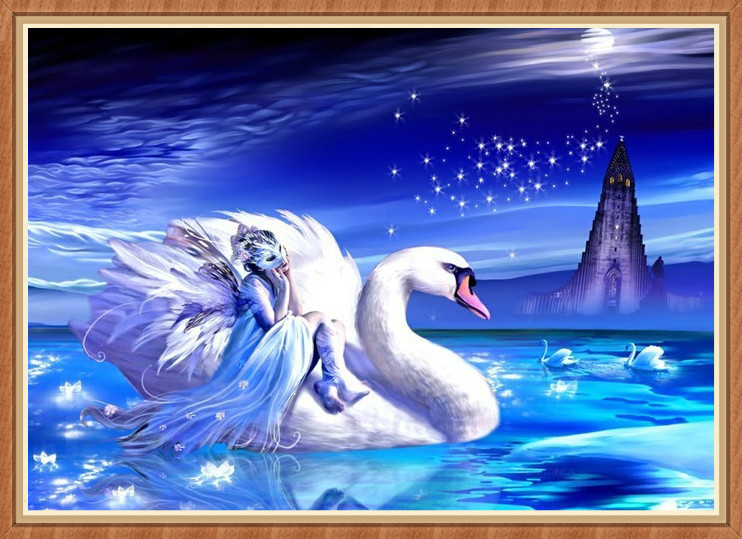 Promotion!! Diamond painting 5d diamond rhinestone pasted painting rhinestone swan lake diy cross stitch home decoration BB1127(China (Mainland))