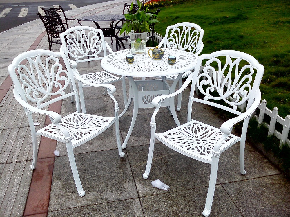 Antique luxury leisure cast aluminum outdoor furniture patio garden table furniture set(China (Mainland))