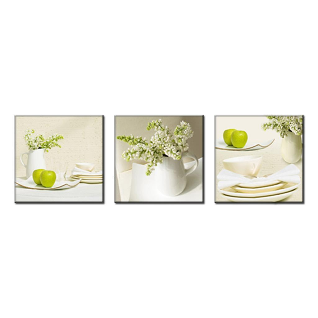 3 pcs set modern spray canvas painting dinner plate with for Apples decoration for home