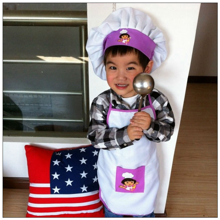 2015 PUEPLE kids party apron children cooking apron cooker hat chef cap 3-8 year old baby dance apron kid dora design apron(China (Mainland))