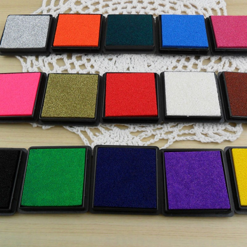 12 Colors Durable DIY Craft Oil Based Ink Pad Print For Stamps Rubber Paper Wood
