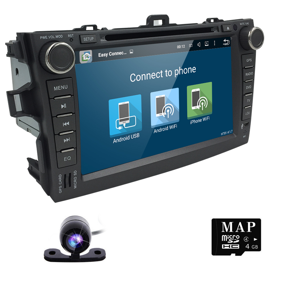 Quad Core Car DVD Player Android 5.1.1 1024*600 Toyota Corolla 2007-2011 Car Stereo GPS Video Player (DTV DAB+ Optional)(China (Mainland))