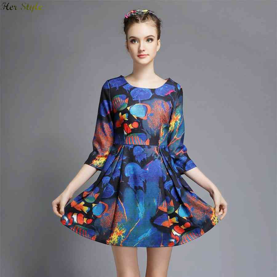 Free Shipping really making a spring 2015 Europe and highend tropical slim cropped sleeves printed high waist dress 1432556515(China (Mainland))