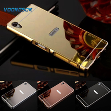 Buy VOONGSON Luxury Gold Plating Armor Aluminum Metal Frame + Mirror Acrylic Back Cover Sony Xperia Z1 Case L39h C6906 C6903 Hot for $3.14 in AliExpress store