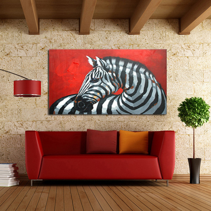 100 handpainted free shipping oil paintings picture panel - Cuadros de cebras ...