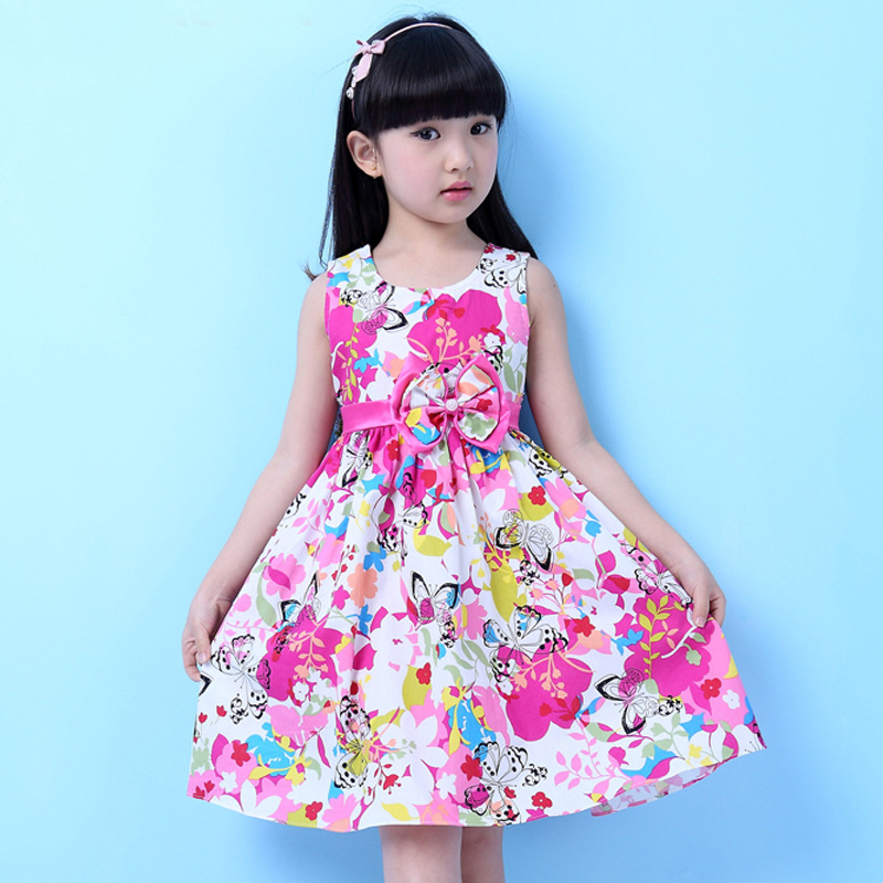 Summer Dresses for Kids Girls Bow Girl Flower Dress Baby Sleeveless Dresses Children Princess Cute Dresses for Teenage Clothes(China (Mainland))