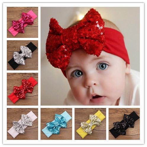 baby girls turbante elastic hair sequin bows turban headband head wraps bands headbands band for hair accessories headwrap 2015(China (Mainland))