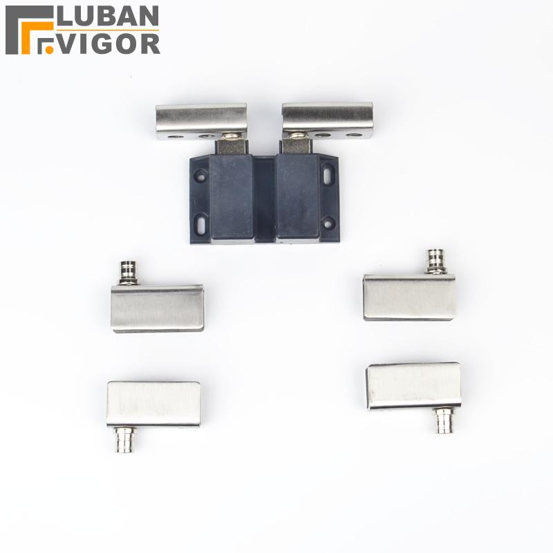 Double Door Glass Wine Cabinet hinge sets,Stainless steel,with Door sensor,Door sensor,hardware for glass thickness 5-8mm,8pcs(China (Mainland))