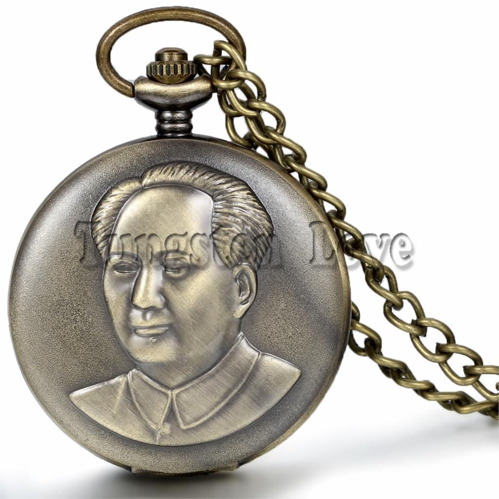 Antique Alloy Chairman Mao Hand Wind Mechanical Pocket Watch Long Chain 36cm Value Quality relogio de bolso(China (Mainland))