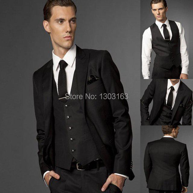 2014 Custom Side Vent Slim Fit Groom Tuxedos Black Groomsmen Peak Lapel Men Wedding Suits Bridegroom (Jacket+Pants+Vest+Tie)