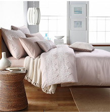pink Princess wind lace wedding Bedding set starfish seashells 100% cotton bedclothes bed quilt King Queen Full size(China (Mainland))