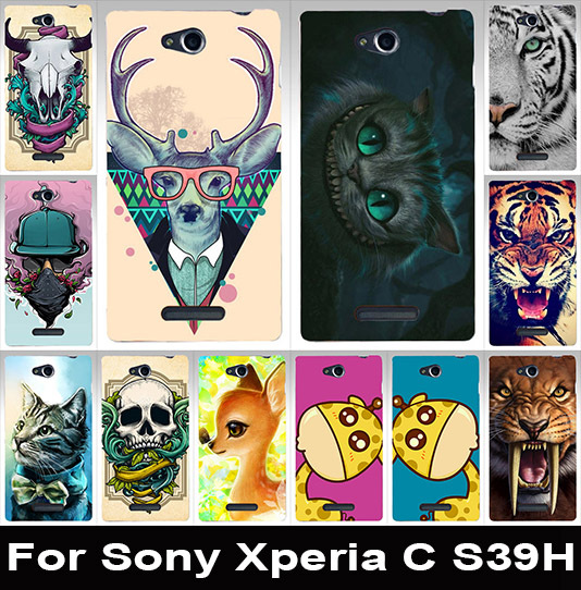 Colorful animal painted mobile phone case transparent side case hard Back cover hood Skin Shell For Sony Xperia C CN3 S39h C2305(China (Mainland))