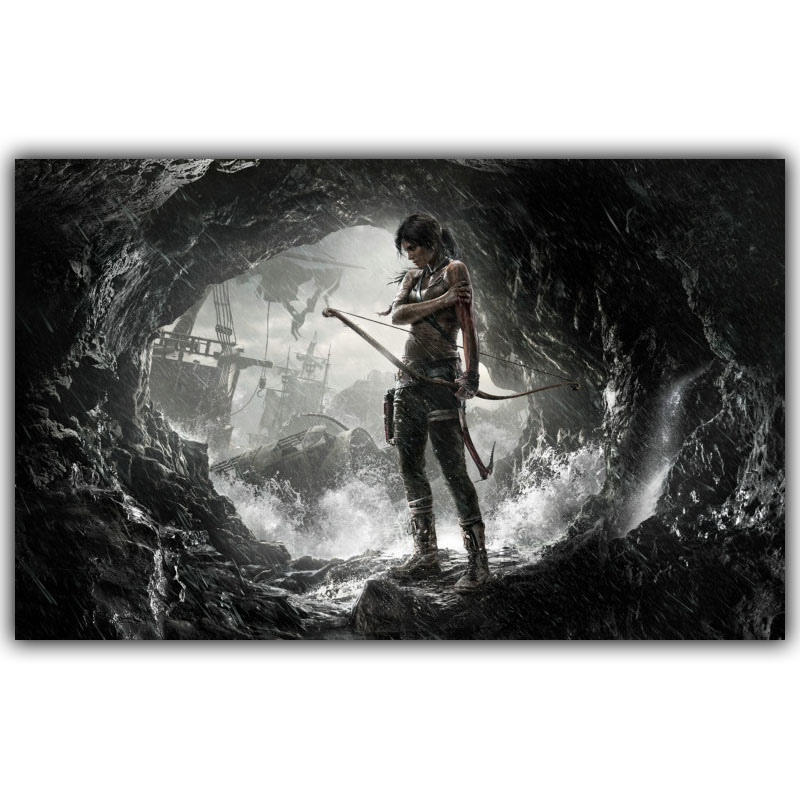 Popular Game Tomb Raider Posters Home Decoration Silk Fabric 15*24 20*32 22*36 30*47 Inches YX017(China (Mainland))