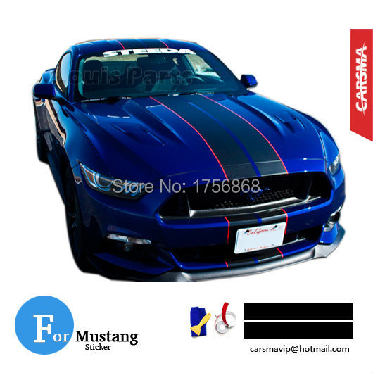 "Pair 20*450cm (8""x177"") Matte Black Racing stripe with a Reflective Red pinstripe on a Deep Impact Blue Mustang GT Sticker(China (Mainland))"