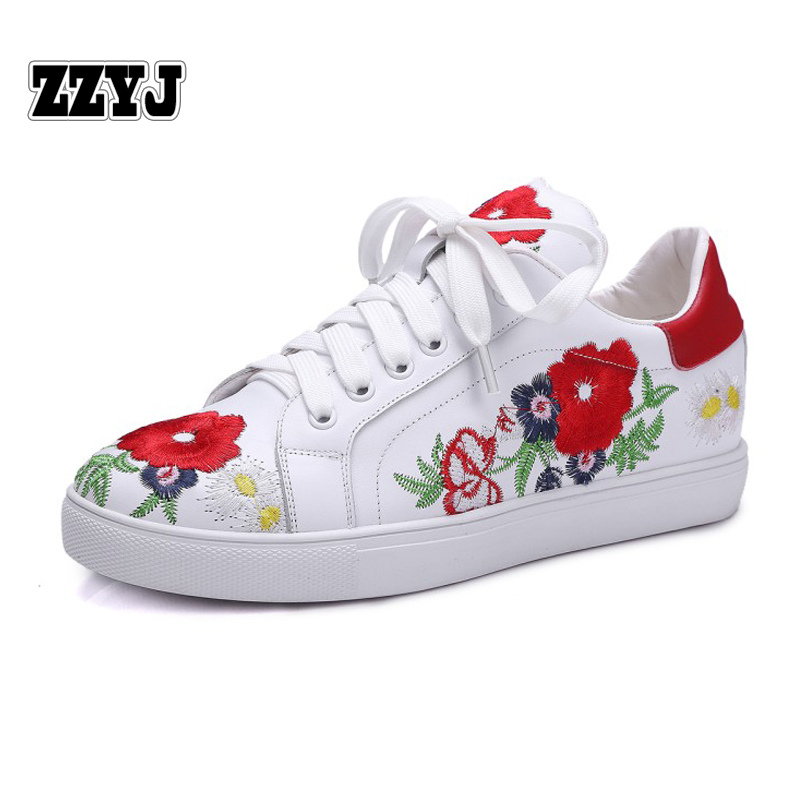 ZZYJ Genuine Leather Women's Casual flat shoes spring summer autumn winter embroidered Female footwear Flowers Shoes(China (Mainland))