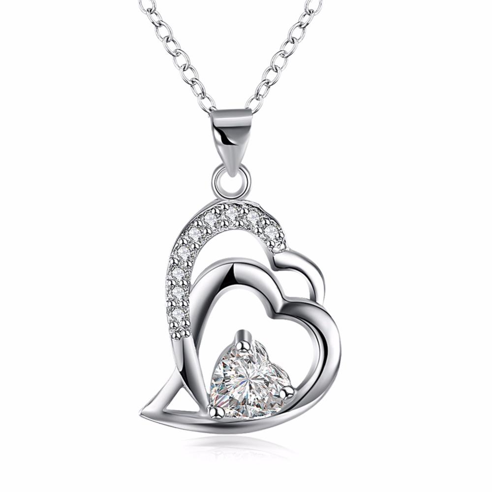 Free Shipping NEW!! joyas de plata 925 necklace men Crystal heart to heart perfume women love(China (Mainland))