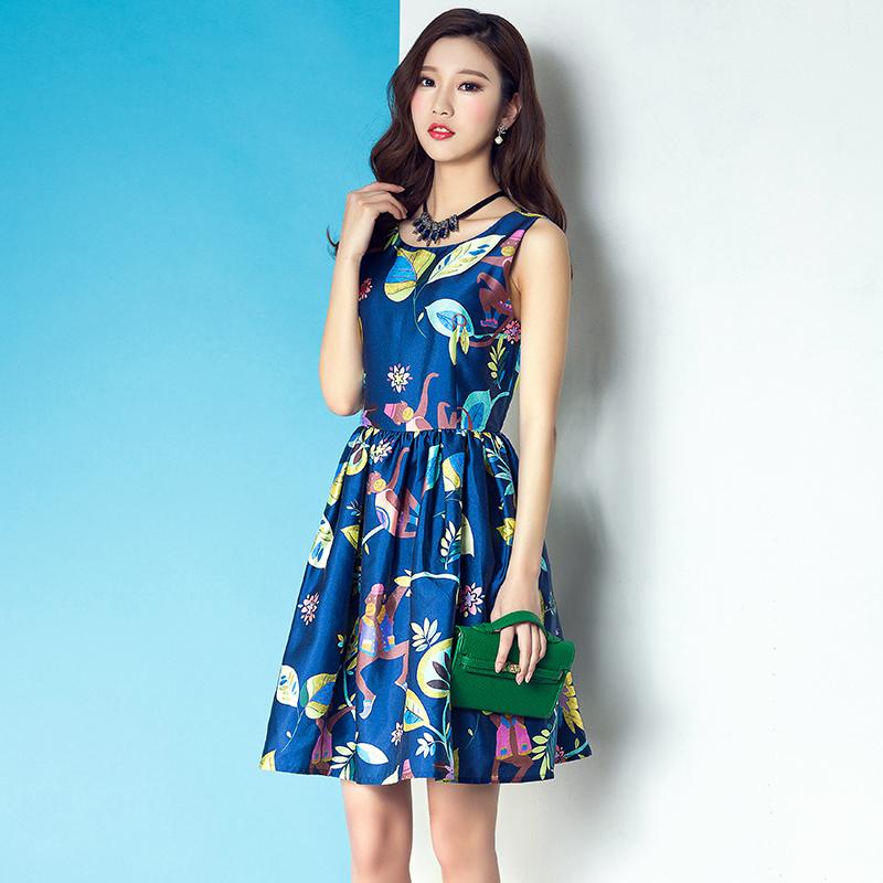 Summer Women Dress 2016 Fashion O-neck Sweety Tank Sleeve Dress s Blue Zippers A-Line Tops Cute Flower Print Tank Dress(China (Mainland))