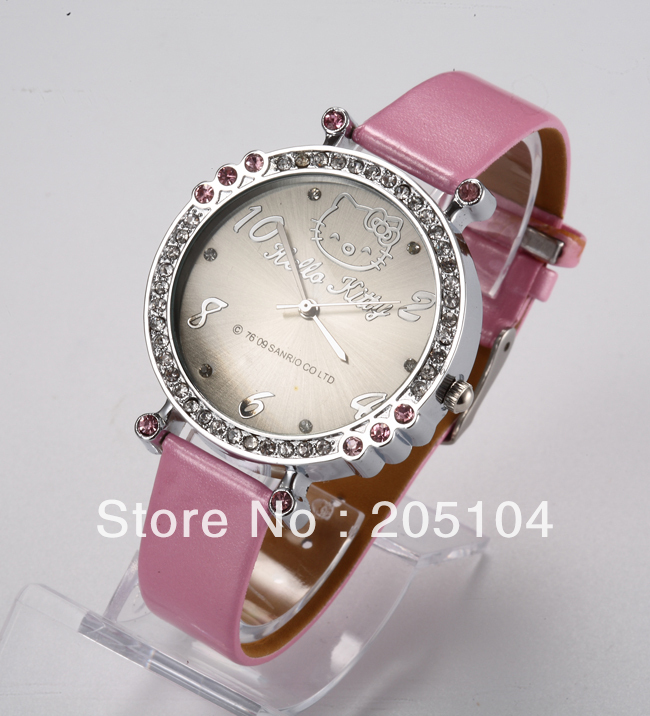 2013 Diamond Crystals Hello Kitty Watch Cute Pink Leather kids Children Wrist Watch Quartz Dial Free Shipping Drop shipping