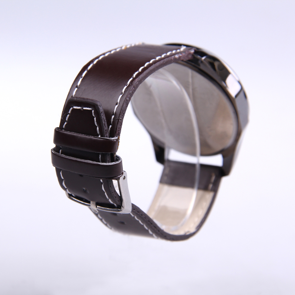 Fashion Men Quartz Wrist Watch Leather Band Stainless Steel Back Case Brown High Quality