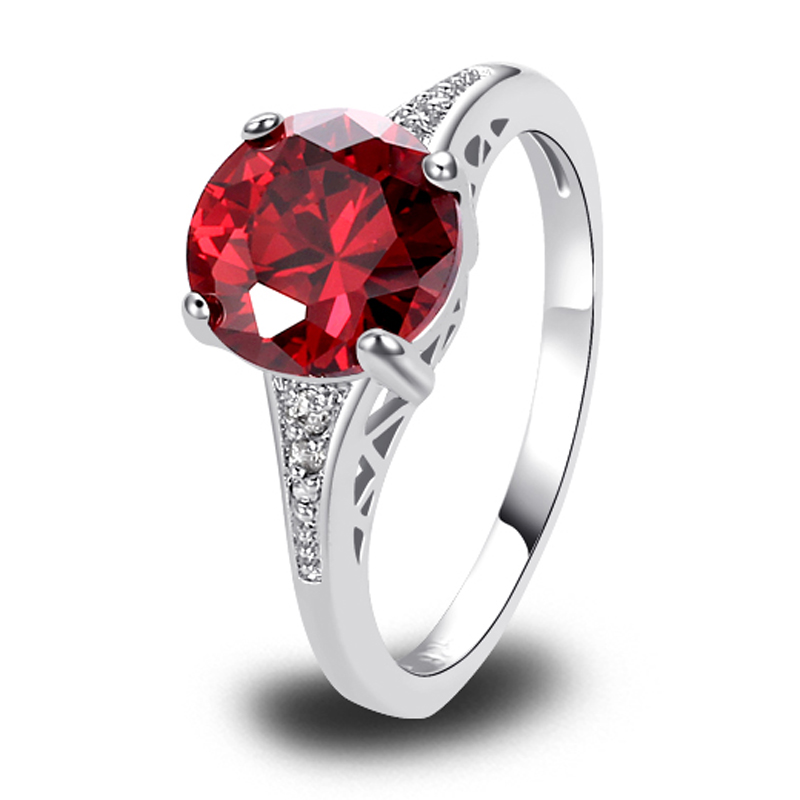 Free Shipping Nice Fashion Women Jewelry Wedding Gift Round Cut Red Garnet Silver Ring Size 6 7 8 9 10 11 12 Wholesale(China (Mainland))