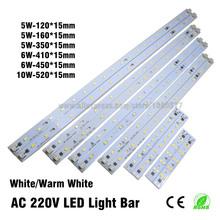 10pcs AC 220v High Brightness LED Light Bar Strip Driverless for T5 T8 Tube, 5w 6w 8w 10w 180-260v SMD 5730 led pcb Light Source(China (Mainland))