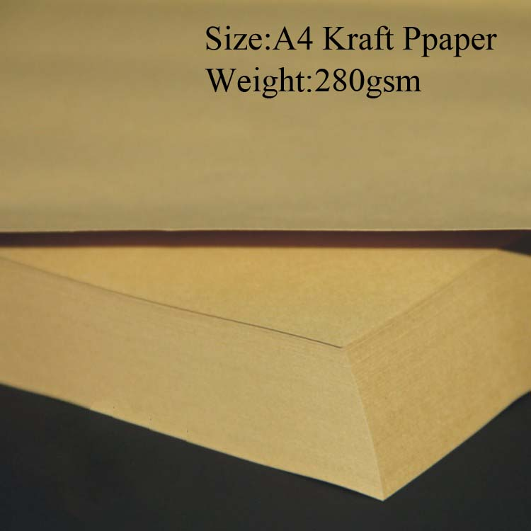 21*29.7cm A4 Brown Kraft Paper 280gsm, 50 sheets blank kraft paper A4(China (Mainland))