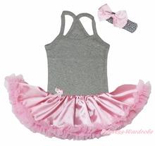 My Daddy Is My Hero Cowgirl Boot Ghost Princess Minnie Print Heart Dress Grey Halter Neck Bodysuit Pink Tutu Set Nb-24m(Hong Kong)