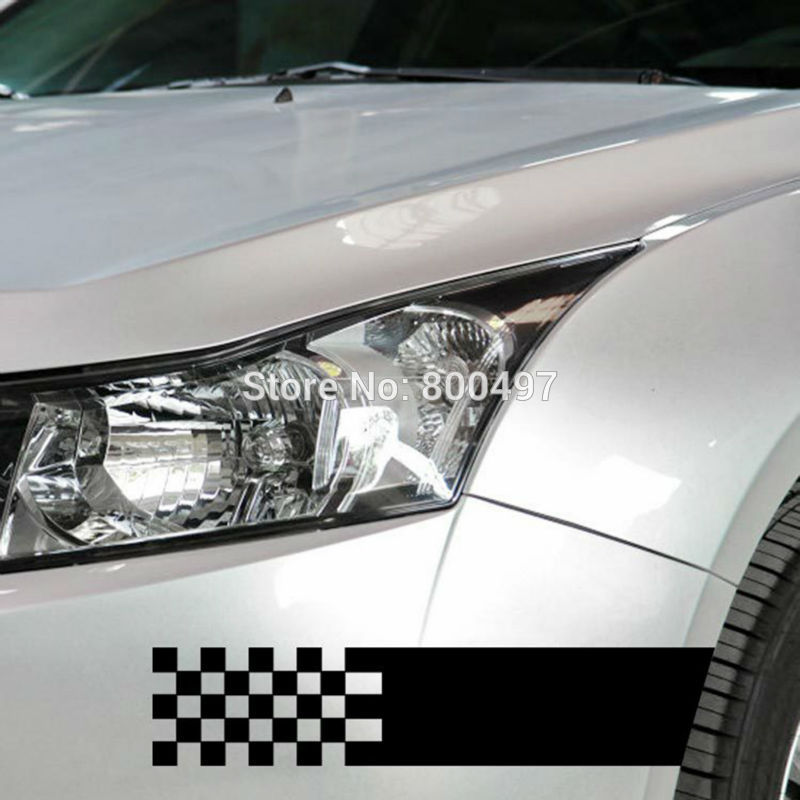 10 x Creative Car Stickers Black and White font b Chequered b font Decal for Tesla