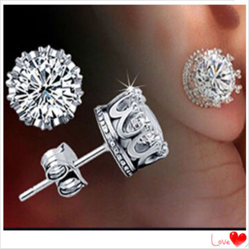 Women's 925 Sterling Silver Royal Crown Ear Stud Earrings Jewelry(China (Mainland))