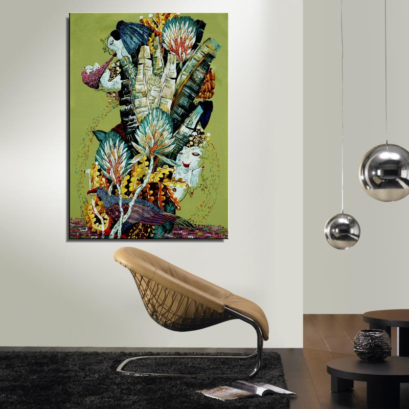 Tribe Leaf woman Musical Instruments Figure Painting Abstract Spray drawing Canvas Oil painting Home decor Frameless(China (Mainland))