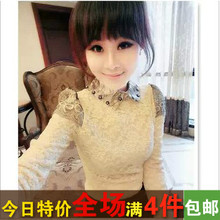 2014 Time-limited Blusas Blouse Autumn And Winter Women Exquisite Full Plus Velvet Shirt Peter Pan Collar Long-sleeve Top Basic(China (Mainland))