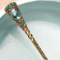 Retro Turquoise Rhinestone Feather Hair Stick Handmade Vintage Women Hair Accessories
