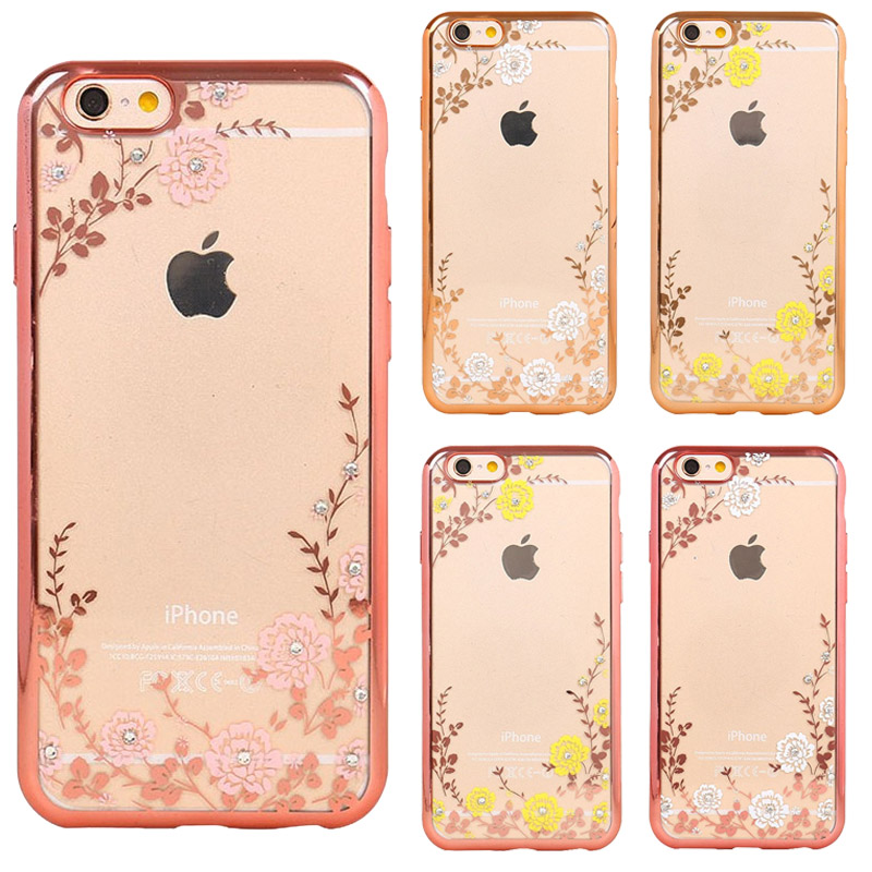 Luxury Secret Garden Flowers Rhinestone Cell Phone Cases For IPhone 5 5S SE 6 6S Plus Plating Phone Case Back Cover C030(China (Mainland))