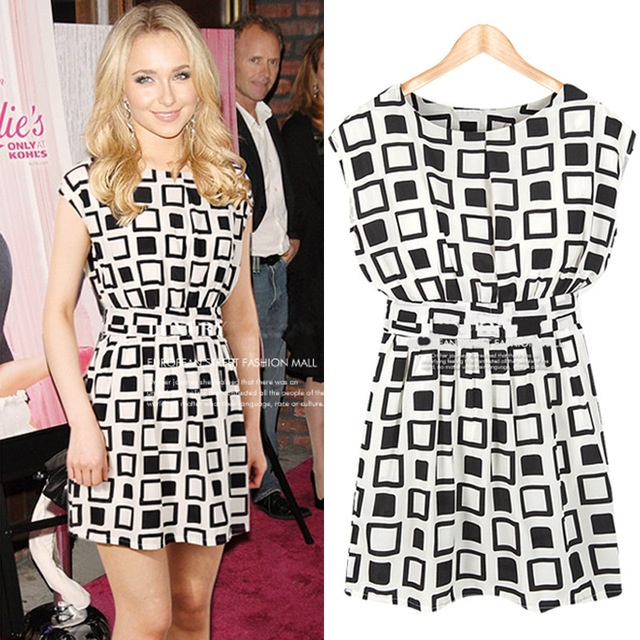 Free shipping 2013 summer new women's round neck sleeveless white Haig waist lace dress