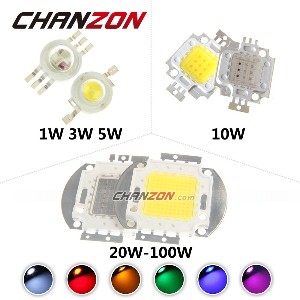 Высокой мощности из светодиодов чип 1 Вт 3 Вт 5 Вт 10 Вт 20 Вт 30 Вт 50 Вт 100 Вт SMD из светодиодов бусины COB холодный теплый белый красный-зеленый-синий RGB для прожектор прожектор