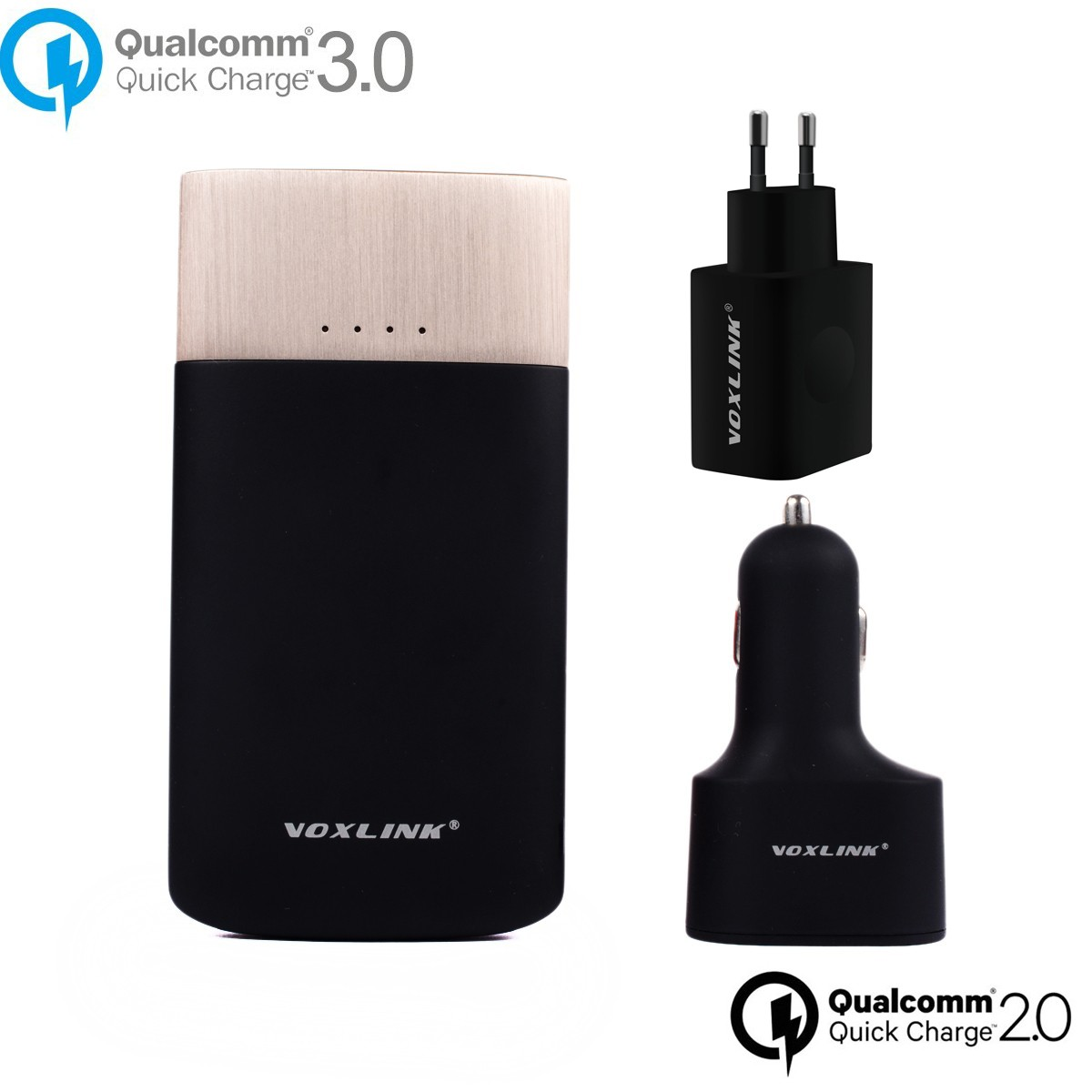 Qualcomm VOXLINK Quick Charge 3.0 USB Wall Charger With Quick Charge 2.0 Power Bank 9000mah Powerbank +Car Charger Adapter