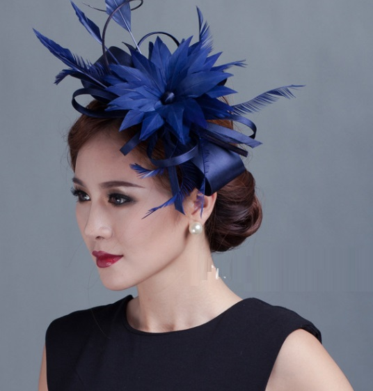 2015 new Ladies champagne ribbon Bow Fascinators lady sinamay and wedding feather fascinator hats women flower hair accessories(China (Mainland))