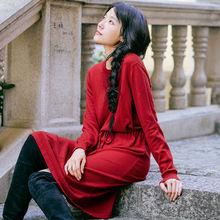 אינמן נשים חורף ארוך שמלות שרוך מוצק צבע פנאי סרוג שמלה(China)
