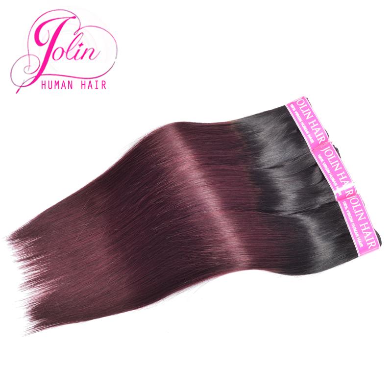 Jolin Hiar Products 3pcs Two Tone Ombre Brazilian Virgin Hair Straight 1b/99j Brazilian Straight Hair Black And Burgundy Hair(China (Mainland))