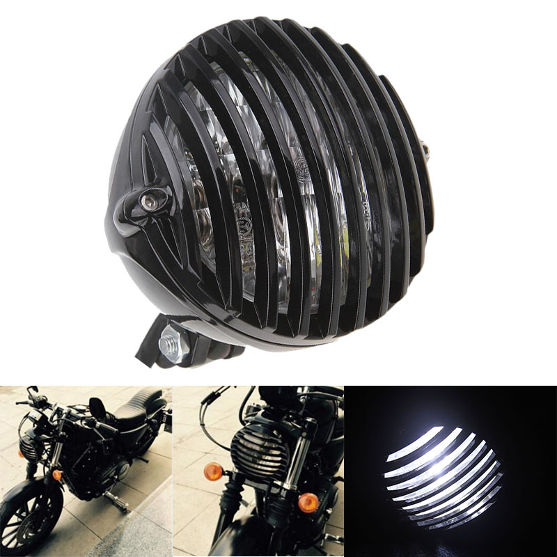 Black Motorcycle Cafe Racer Bike Bullet Halogen Headlight White Light Lamp Grill Cover For Harley Chopper Bobber Custom Moto New(China (Mainland))