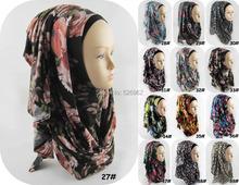 Fashion Real Jersey Scarf 2016 Women Instant Oversized Muslim Islamic Hijab Neck Printed Slip On Shawl 79 Colours Freeshipping(China (Mainland))