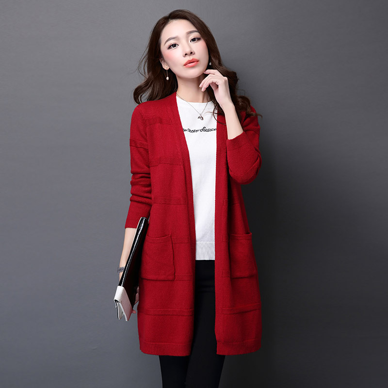 Women Poncho Cardigans with Pocket 2016 Autumn Winter Women Long Sleeve Sweater Female Casual Loose Sweater Outwear Jacket Coat(China (Mainland))