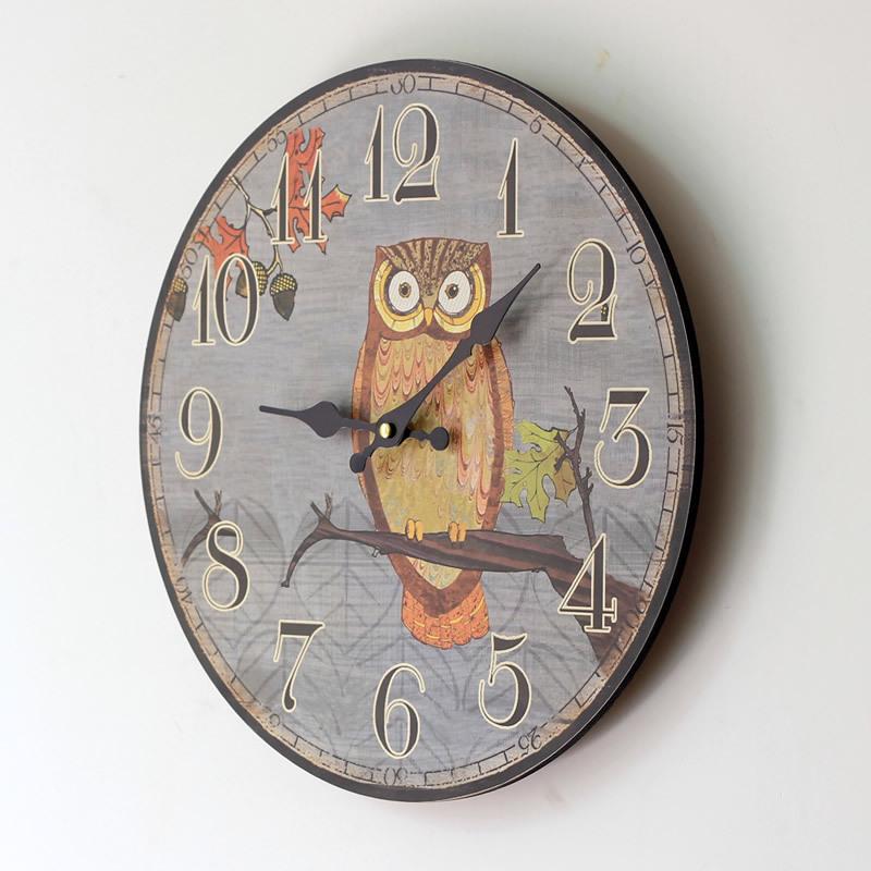 Cute Owl Board Wall Clock Large Decorative Wall Clocks